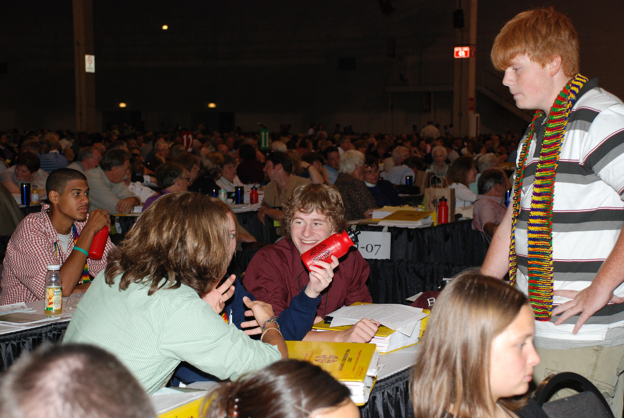 Lutheran Youth Organization during Plenary session 9 having a disscusion.