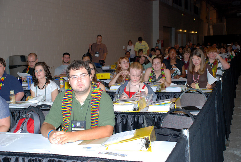 Audience members at Plenary 8 at the Churchwide Assembly at Navy Pier, Chicago, Il.