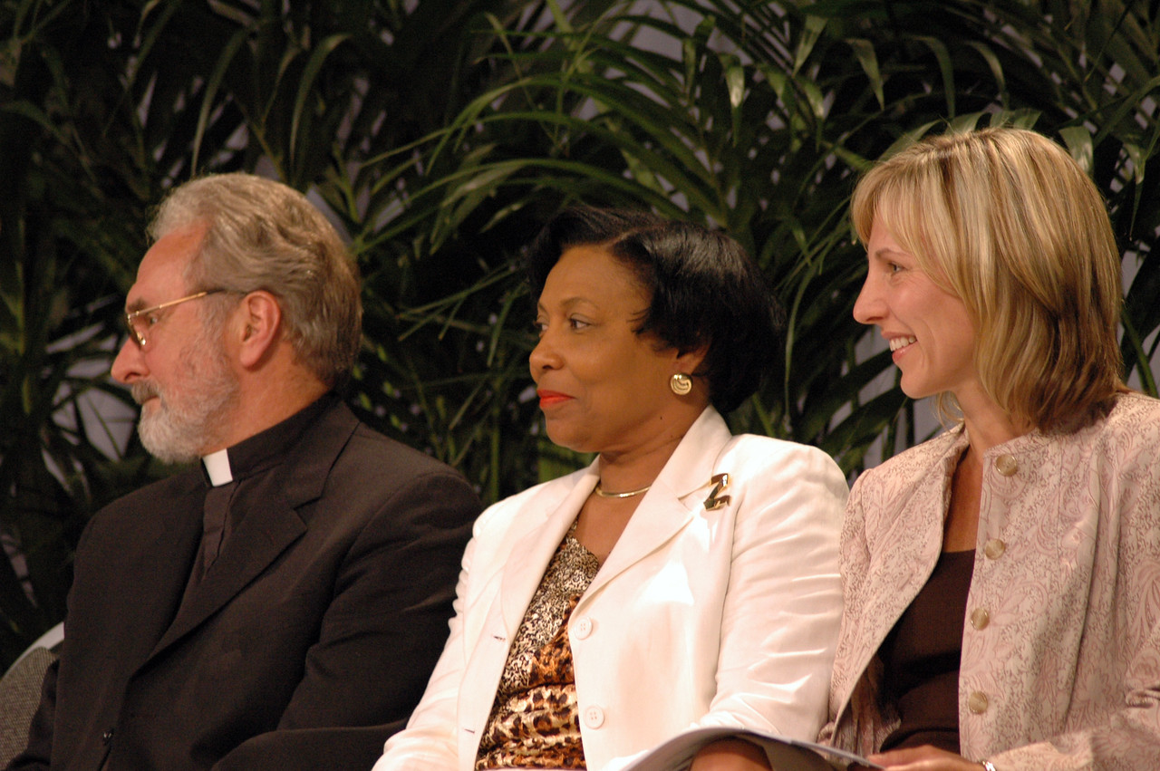 - The Rev. Charles Miller, ELCA executive for administration, Phyllis Wallace, chair of the ELCA Church Council Budget & Finance Committee and Christina Jackson-Skelton, ELCA treasurer smile as the 2008-2009 Budget Proposal is adopted.
