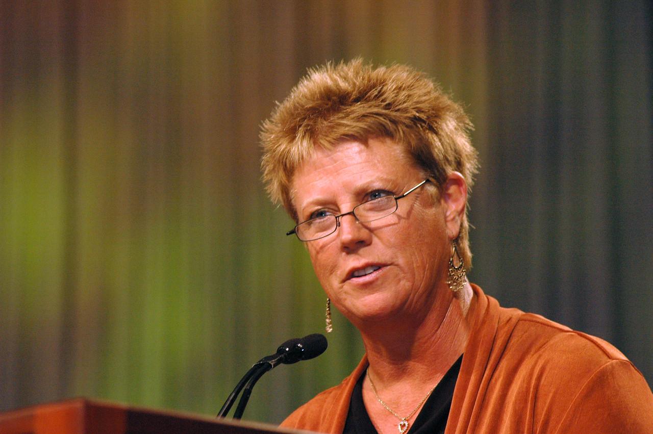 Carmen Richards, president of Women of the ELCA, Hope, North Dakota greets the assembly.