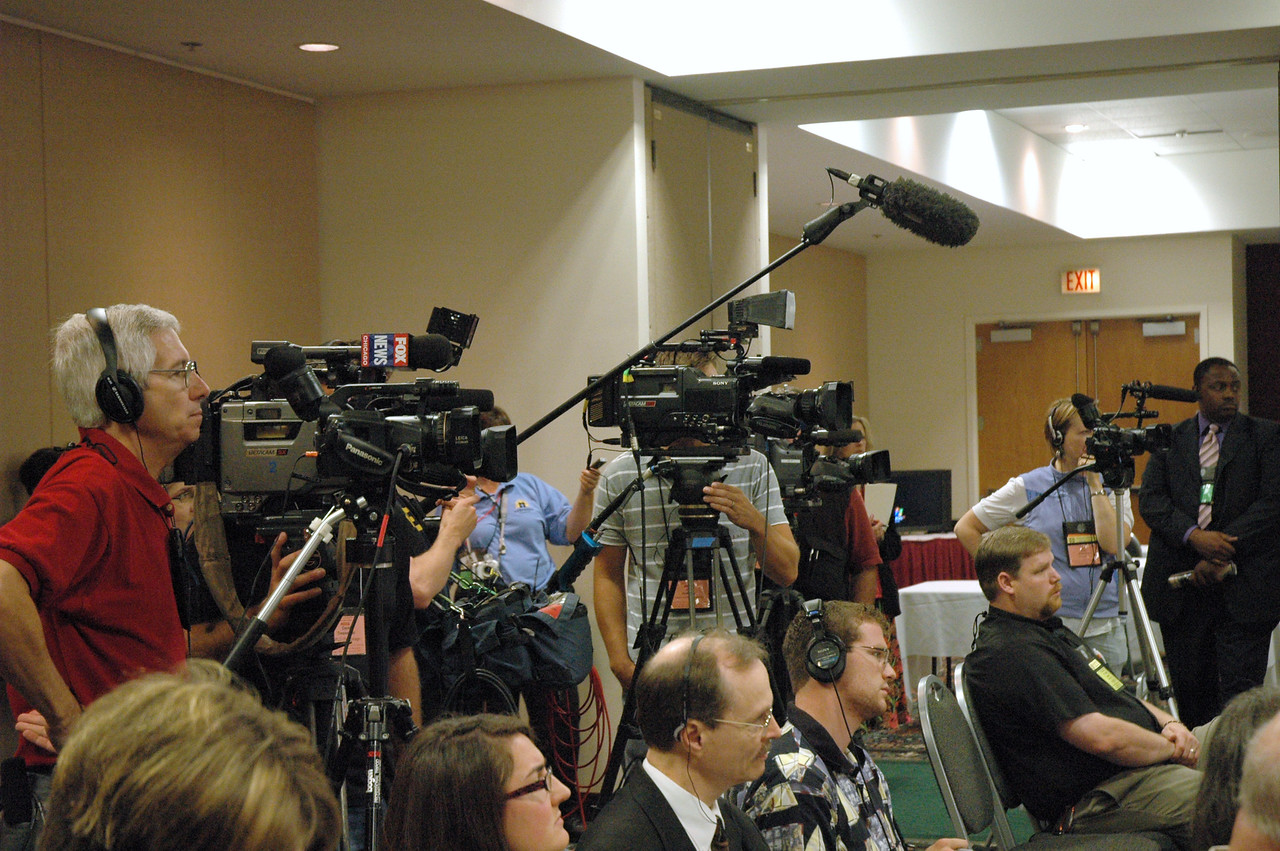 Outside media was present at Bishop Hanson's News Conference which was held at 1 PM.