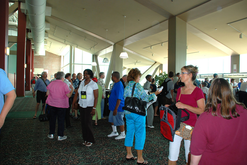 The 2007 Churchwide Assembly registration lines.