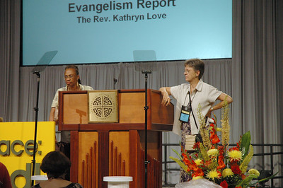 Kristi Bangert and The Rev. Kathryn Love rehearse for Plenary Session.