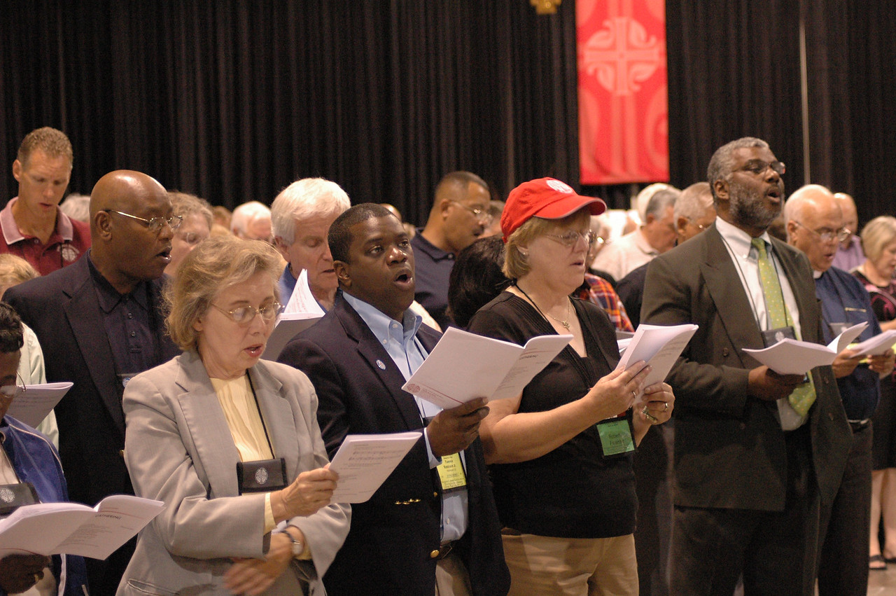 Voting members at opening worship