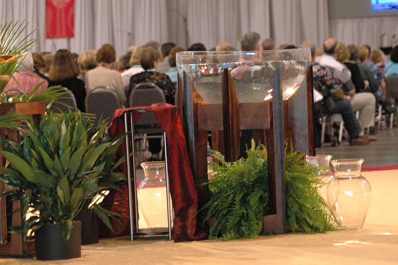 Baptismal font at opening worship