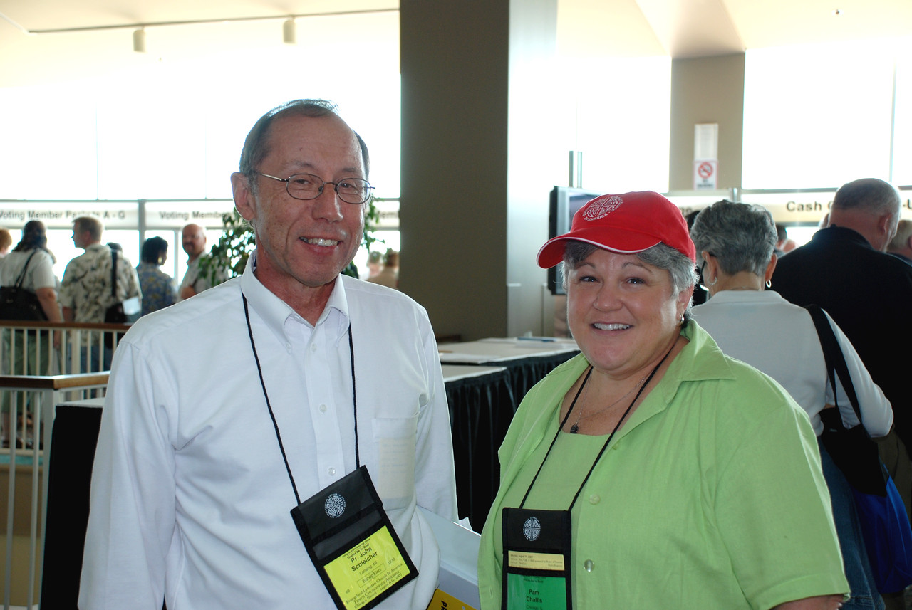 Pr. John Schleicher and Pam Challis finished with registration and heading into the Churchwide Assembly.