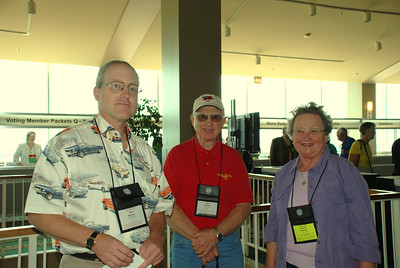 David, Don and Rosalie Rosholt finishing up with registration and headed to the 2007 Churchwide Assembly.