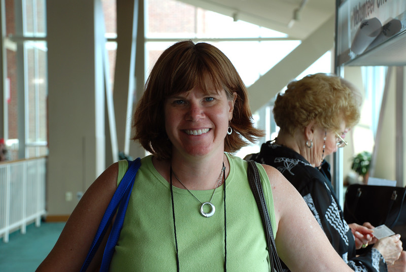 Michele Arnison enjoying the end of registration.