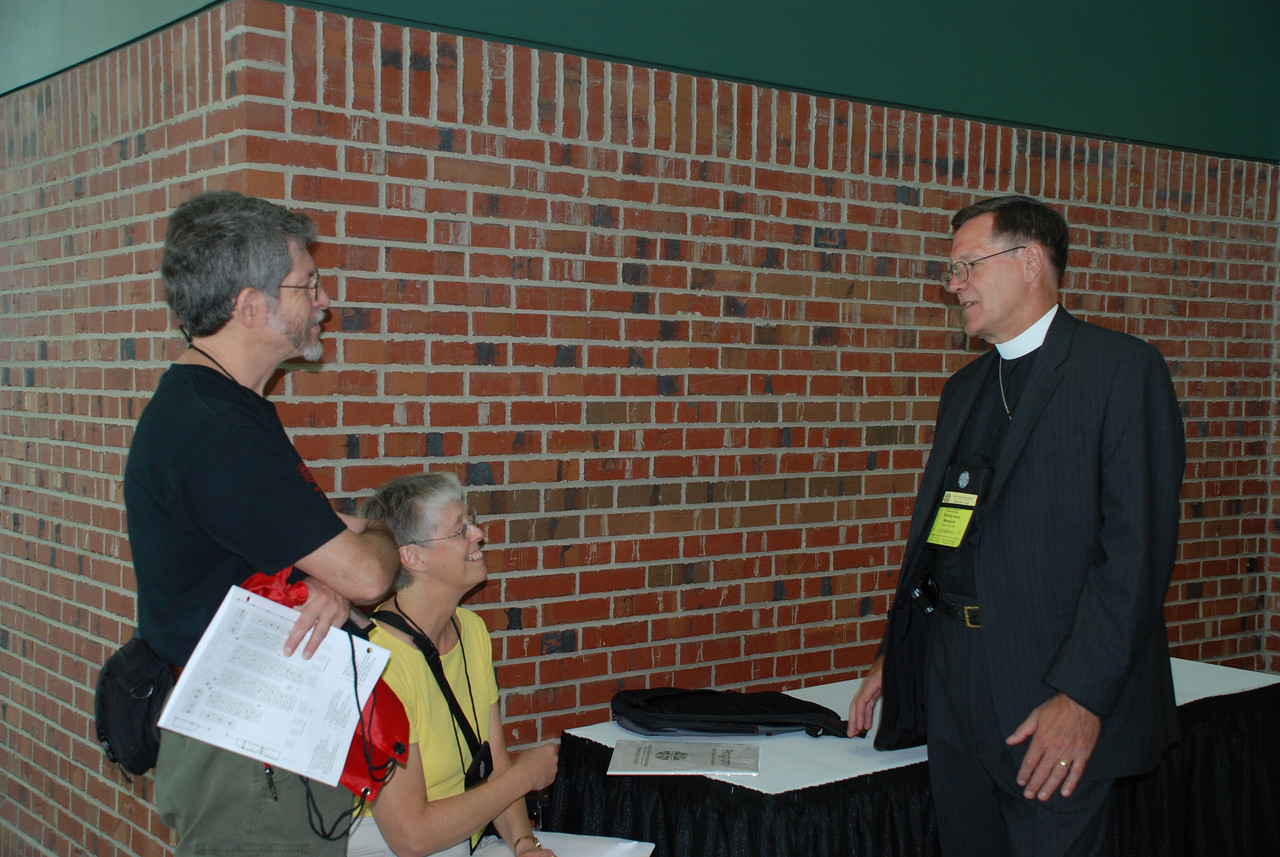 Pr. Jim Pierce, Pr. Juel Pierce and Bishop Jerry Manshult sharing ideas about the Churchwide Assembly.