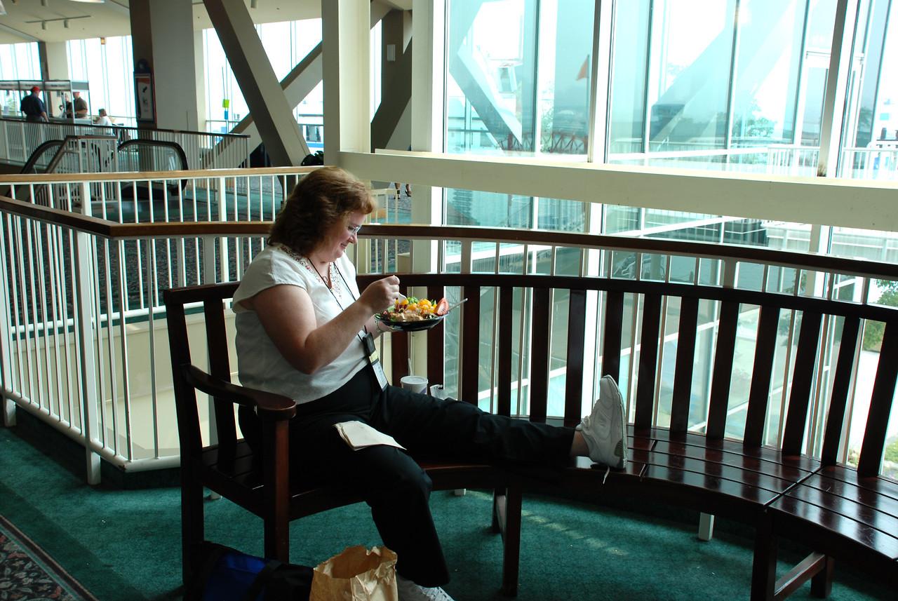 Karen Schreck enjoying her lunch.