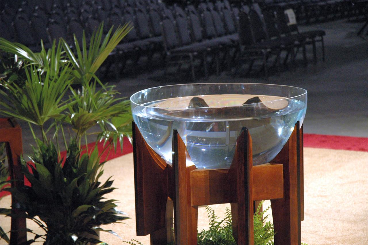 Baptismal font in Worship.