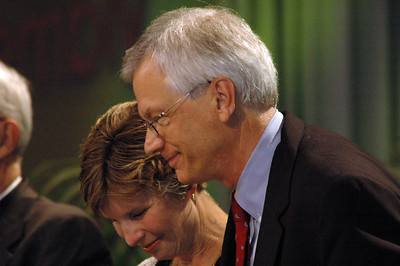 David and Barbara Swartling receive applause following his election as ELCA secretary.