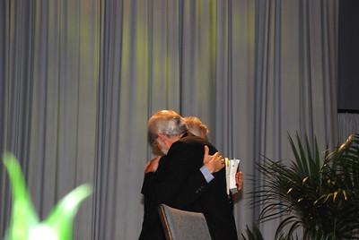 Bishop Hanson celebrating the new elected Secretary David Swartling at Plenary 10.