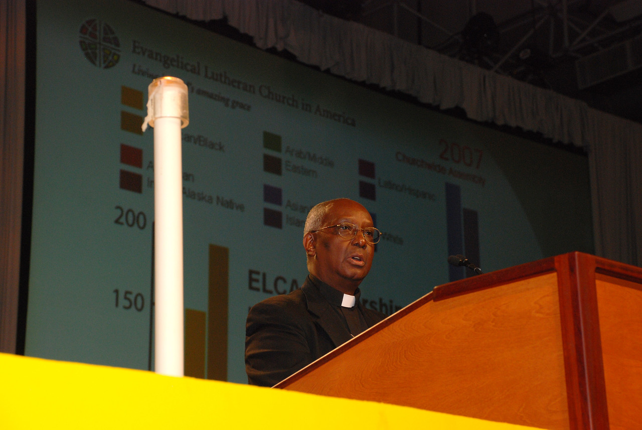 The Rev. Sherman Hicks, Executive Director Multicultural Ministries, addresses the Plenary session 10 on Saturday morning.