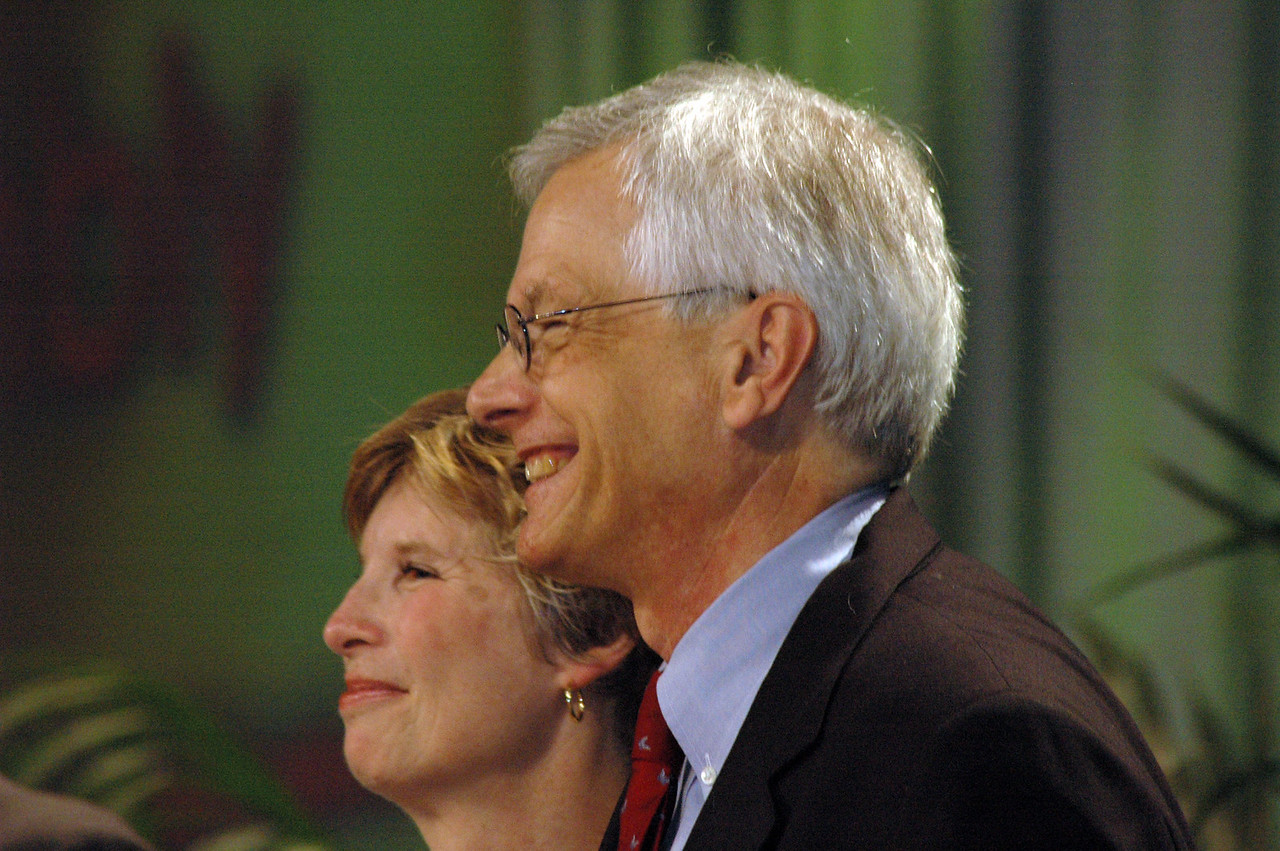 David and Barbara Swartling receive applause following his election as ELCA secretary.
