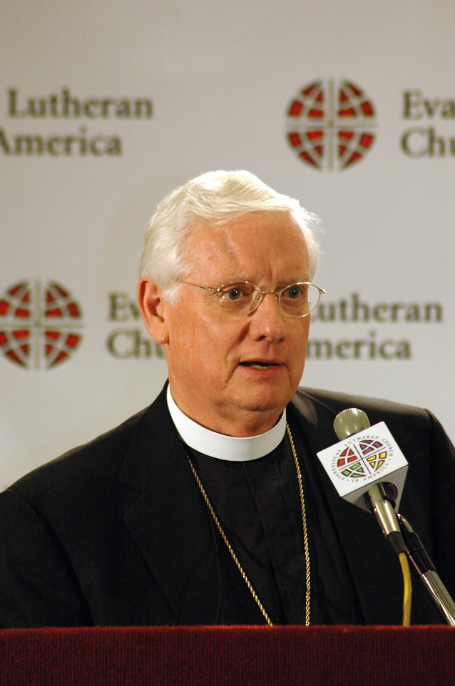 The Rev. Paul Landahl, Bishop Metro Chicago Synod, responds to questions from reporters regarding assembly actions.