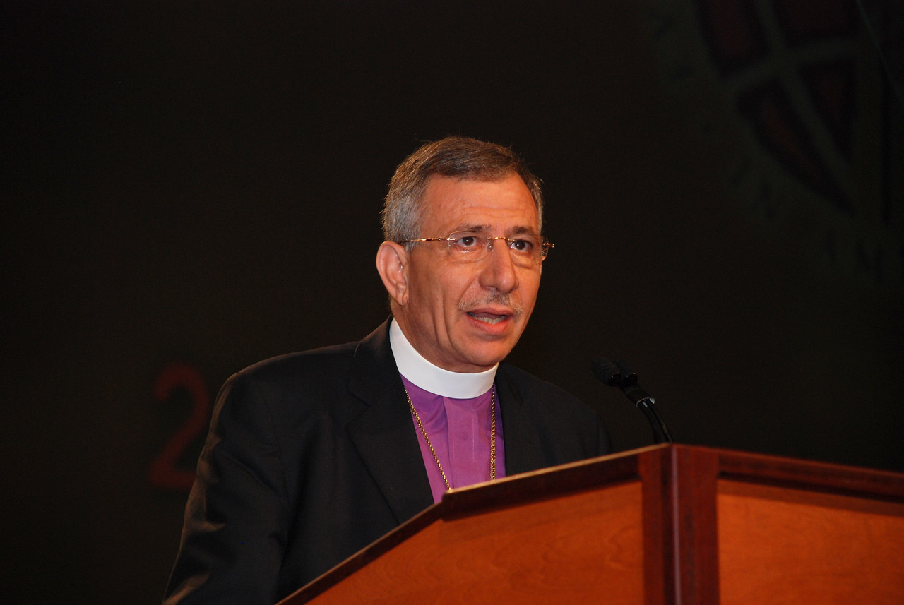 The Rev. Munib Younan, bishop of Evangelical Lutheran Church in Jordan and the Holy Land speaking at Plenary 6.