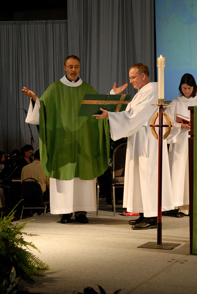 The Rev. Said Ailabouni presides at Thursday's worship service.