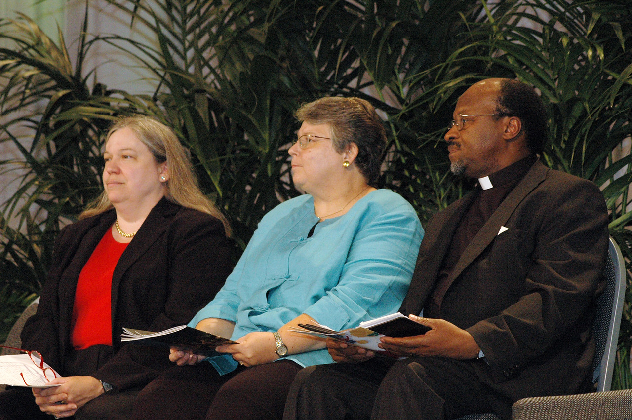 Clare Chapmann, deputy general secretary for adminstration and finance for National Council of Churches of Christ in the USA, The Rev. Deborah DeWinter, program executive for U.S. for the World Council of Churches, and Dr. Ishmael Noko, general secretary, Lutheran World Federation.