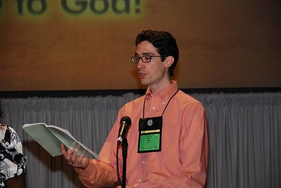 Assembly musician, John Sall from Abington, Pa. sings at Plenary 6 at Churchwide Assembly.