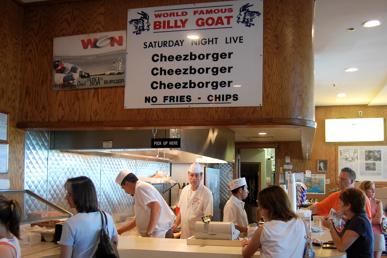 Saturday Night Live for real!  Cheezborgers at the World Famous Billy Goat Tavern & Grill.