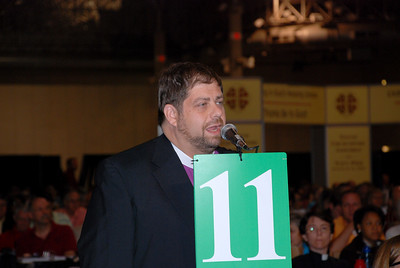 A voting member supporting a resolution at Plenary 6 on Thursday.