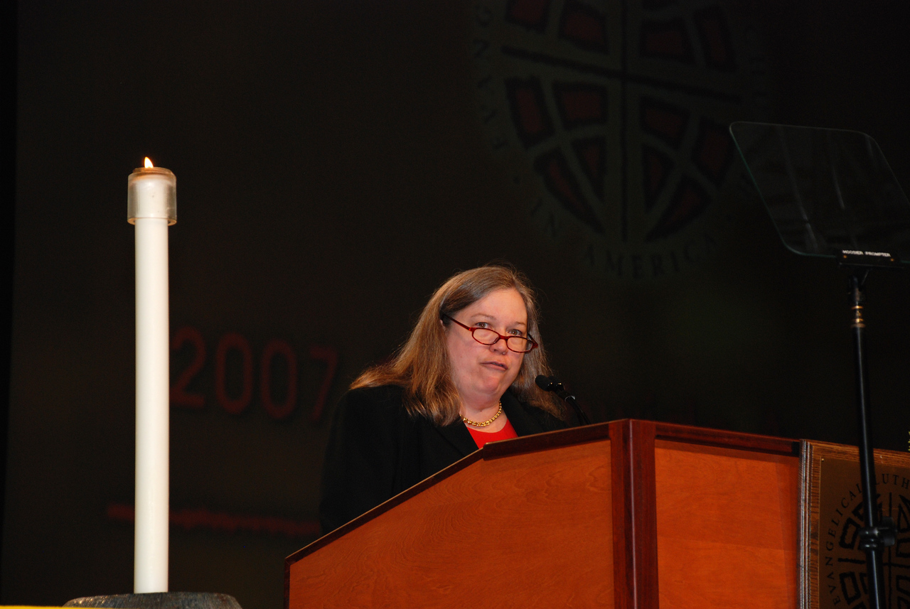 Clare Chapmann, deputy general secretary for adminstration and finance for National Council of Churches of Christ in the USA at Plenary 7.