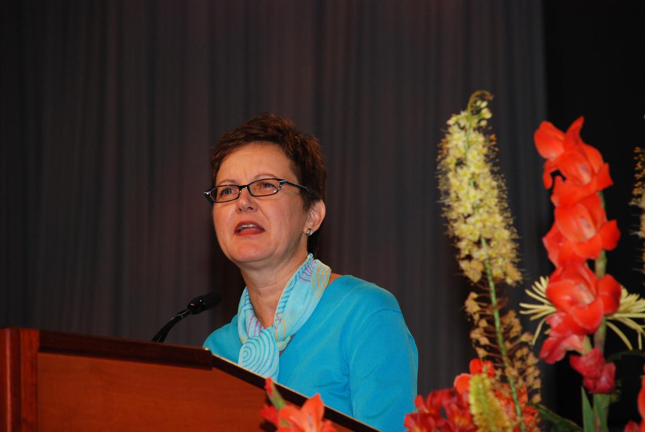 Nancy Arnison, director for ELCA World Hunger Program speaking in Plenary 6 on Thursday.