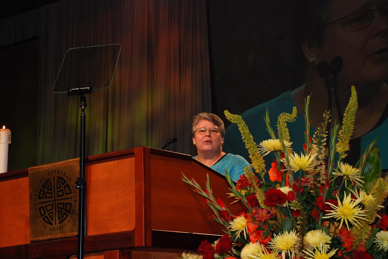 The Rev. Deborah DeWinter, program executive for U.S. for the World Council of Churches at Plenary 7.