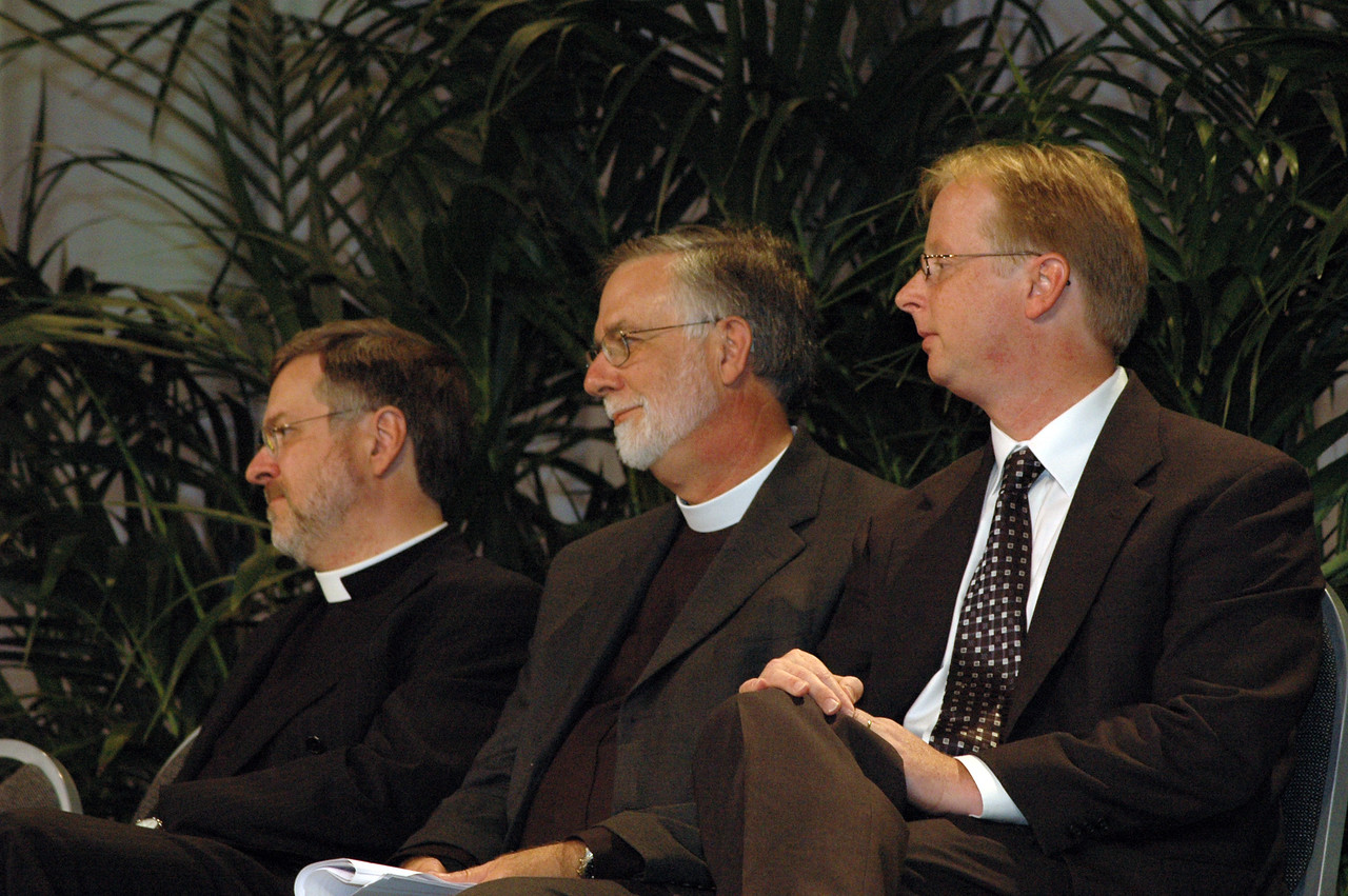The Rev. Paul Schreck, ELCA Office of the Secretary, Moravian Church in America representative the Rev. Gary Harke, executive director, Pennsylvania Council of Churches and Dr. Michael Trice, ELCA Ecumenical and Inter-Religious Relations.
