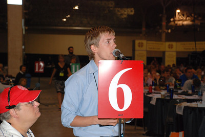 A voting member opposing a resolution at Plenary 6 on Thursday.