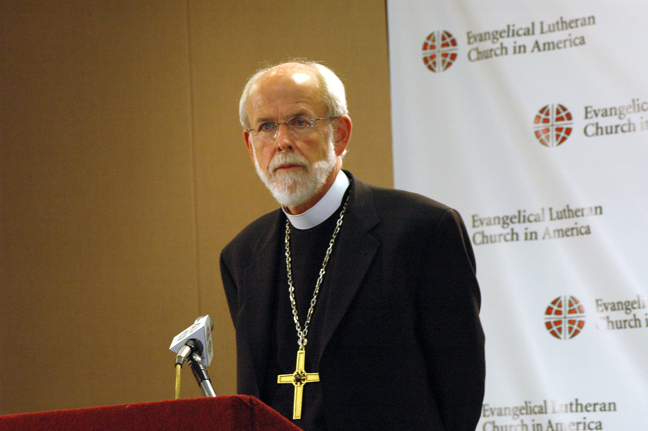Presiding Bishop Mark Hanson responds to questions during a news conference held after his re-election.