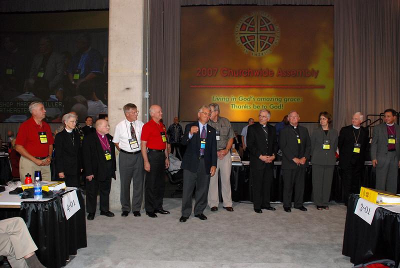 Bishop Hanson thanking Bishops for their dedication and work.