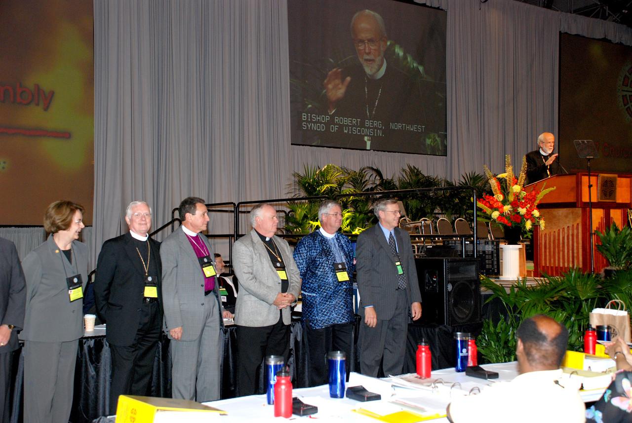 Bishop Hanson thanking retiring Bishops for their dedication and work.