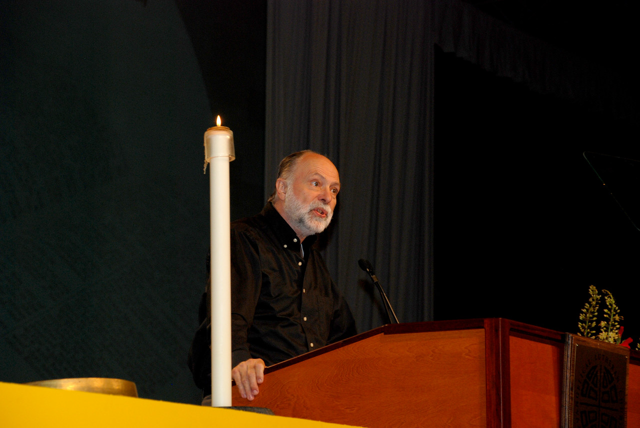 The Rev. David M. Rhoads, Lutheran School of Theology at Chicago, Chicago speaking at Tuesday's Plenary session.