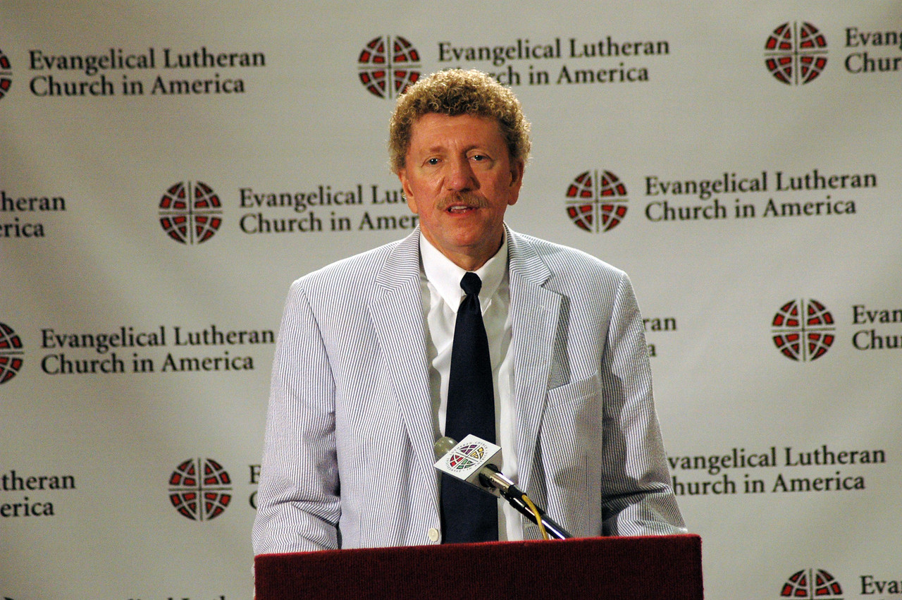 """Bishop Leonard Bolick, North Carolina Synod speaks on """"Book of Faith"""" at the press conference."""