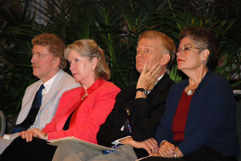 """Bishop Leonard Bolick, CEO Beth Lewis, of Augsburg Fortress Publishers, The Rev. Stanley Olson and Dr. Diane Jacobson supporting the """"Book of Faith"""" initiative at CWA Plenary meeting on Tuesday."""