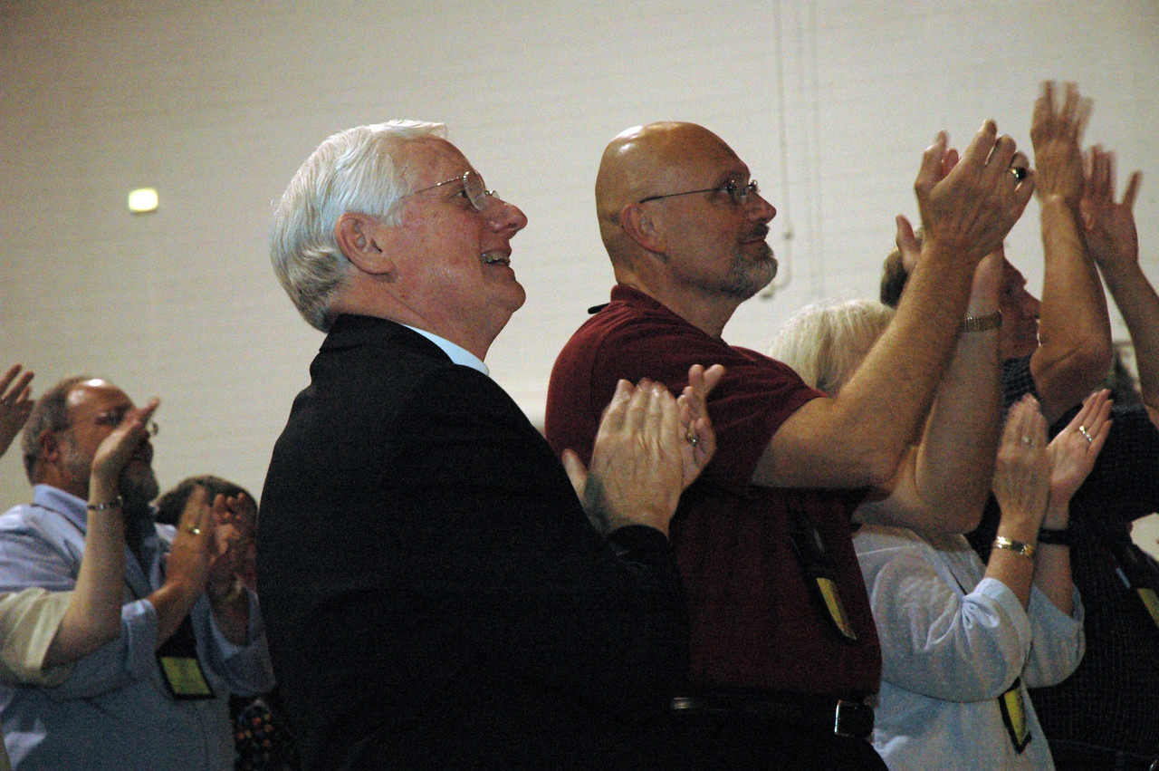 Bishop Paul Landahl and Bishop-elect Wayne Miller, Metro Chicago Synod applaud the re-election of Mark Hanson.