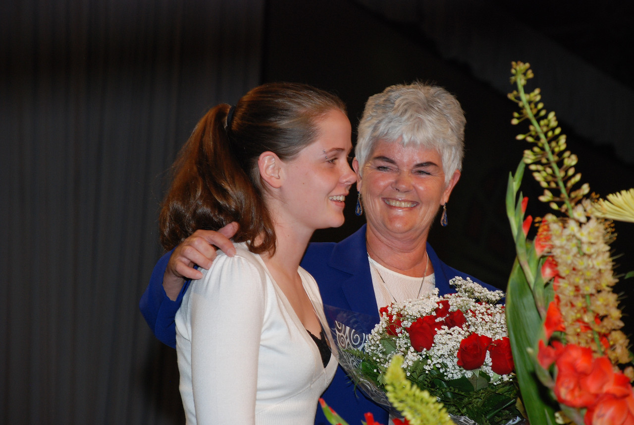 Ione and Elizabeth Hanson on stage with newly re-elected Bishop Hanson.