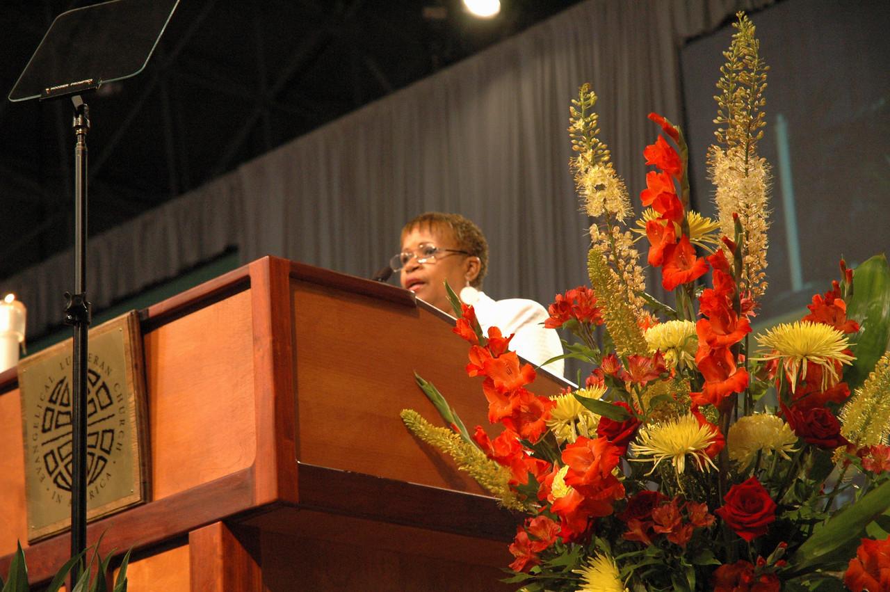 Connie Thomas, ELCA Church Council introduces Bible study leader Dr. David M. Rhoads.
