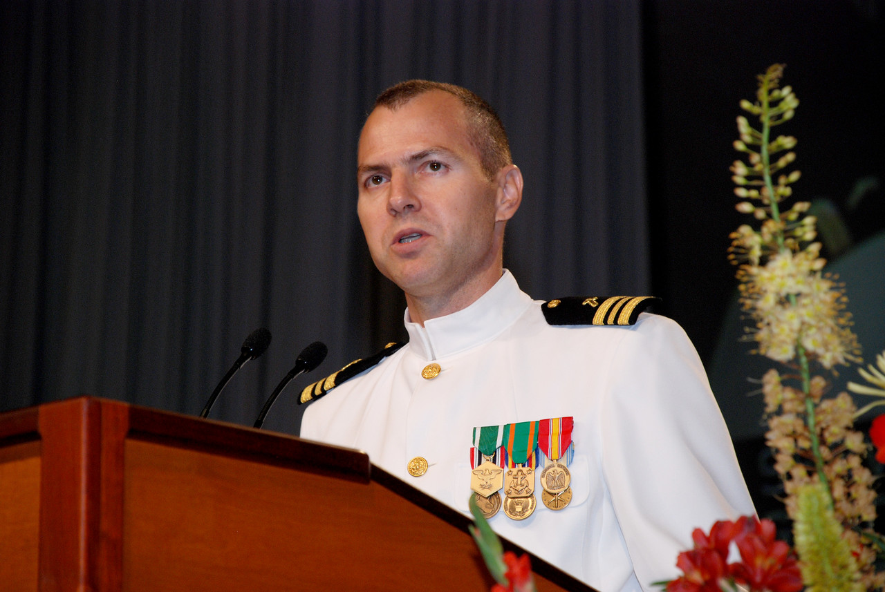 Military chaplain: The Rev. Peter Muschinske, Navy Reserve chaplain, deployed to Iraq in January 2006 for six months, now serving as ELCA chaplain in US Navy in Maryland Heights, Mo. speaking at Tuesday's Plenary session.