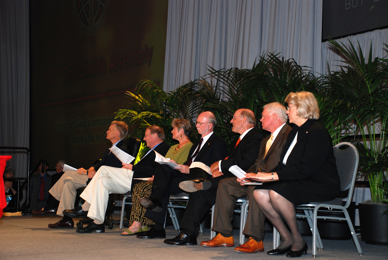 ELCA Colleges Corporation meetings: Dana College (Blair, Neb.), Luther College (Decorah, Iowa), St. Olaf College (Northfield, Minn.), Wartburg College (Waverly, Iowa) on stage at the Plenary 5 session.