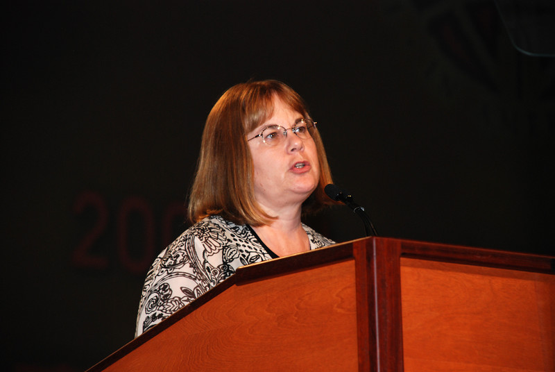 Rebecca Larson, Executive Director of the Church in Society unit speaking to the Plenary session.