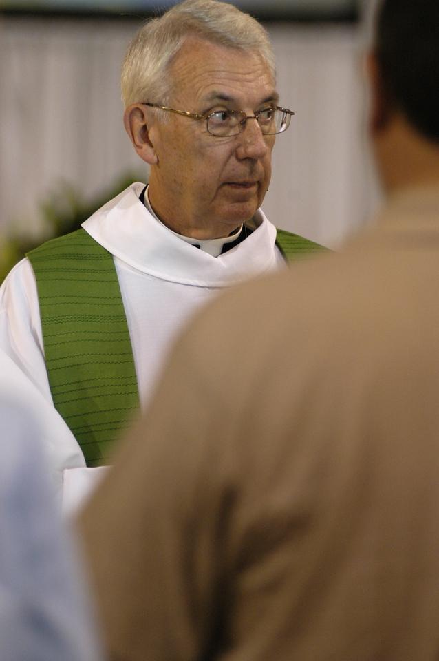 Rev. Lowell Almen during Wednesday worship service