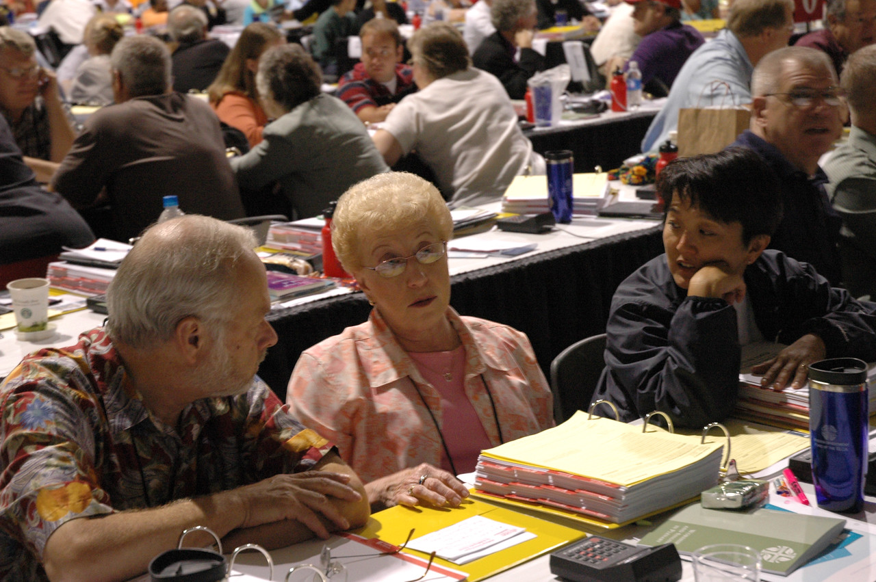 Voting members share with each other the evidence of Gods work, our hands in their own congregations.