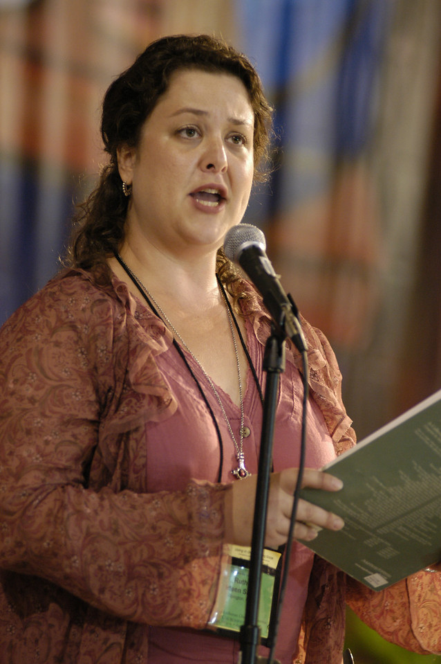 Ruth Ideen Sall sings during worship service