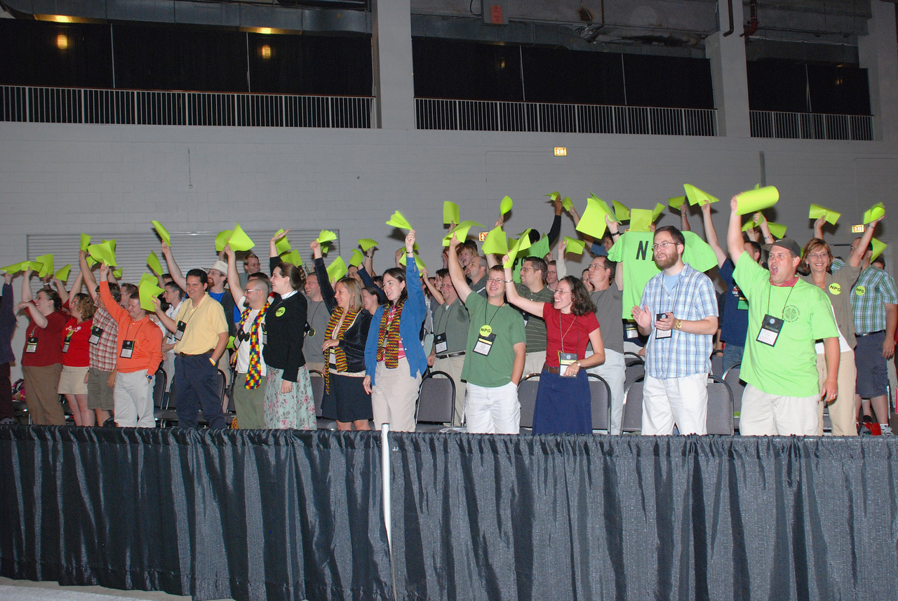 The Young Rostered Leaders acknowledged by Bishop Hanson during Wednesday's Plenary session.