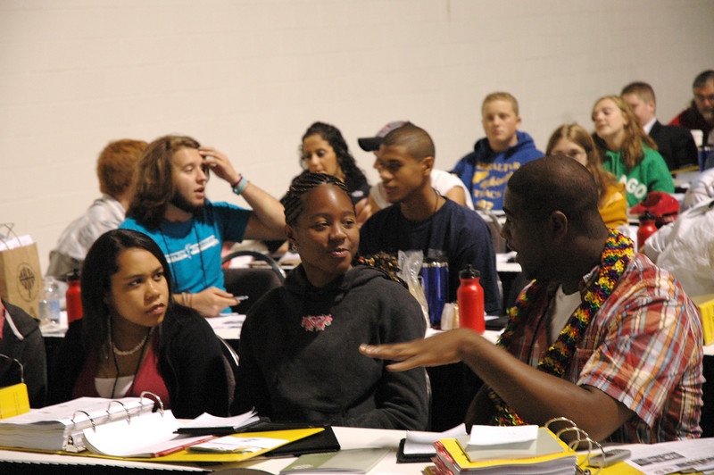 Members of the Youth Convocation discuss how they share their faith with others in their communities.