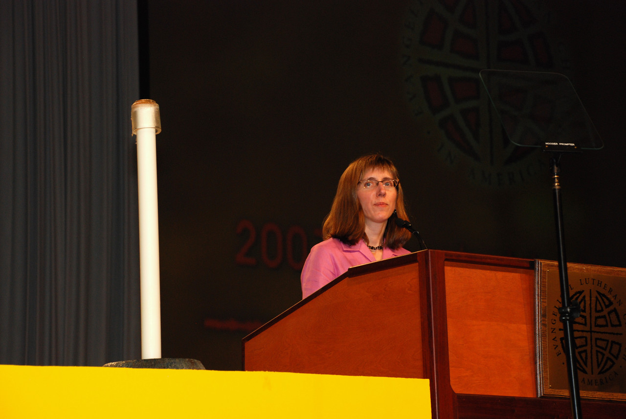 Mary Streufert,Director for Justice for WomenChurch in Society addresses the Plenary session on Wednesday.