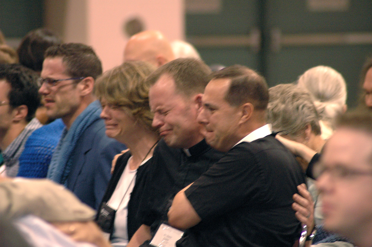 As the result of the vote on ministry policies was announced, many in the hall reacted with strong emotions. The vote opens the public ministry of the church to gay and lesbian pastors and other professional workers living in committed same-sex relationships.